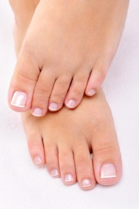 A woman's pretty pedicured feet